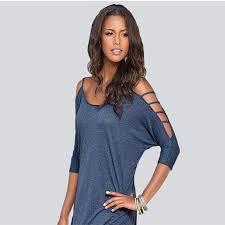 women off the shoulder light blue top tee t shirts online store