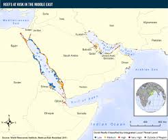 Middle East On Map by Reefs At Risk In The Middle East World Resources Institute