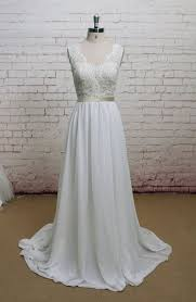 wedding dress etsy v back wedding dress with chiffon skirt a line style bridal gown