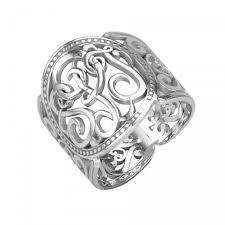 monogrammed ring sterling silver cigar band scroll monogram ring be monogrammed