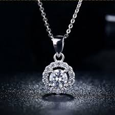 white gold crystal necklace images Mdean white gold plated crystal gemstone aaa zircon wedding jpg