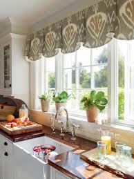 interior patterned bay window treatments kitchen with white