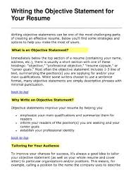 outstanding good objective statements for resumes 62 on resume