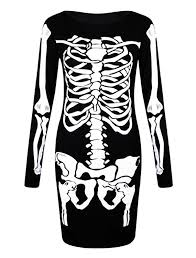 halloween t shirts for women long sleeved skeleton midi dress s m to 3xl amazon co uk clothing