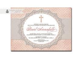 Baptism Invitations Free Printable Christening Lace Baptism Invitation Pink Dots Shabby Chic Vintage