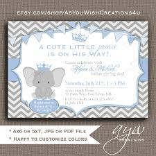 elephant baby shower invitation blue grey prince baby shower