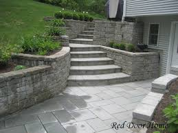 retaining wall with steps in front of house google search