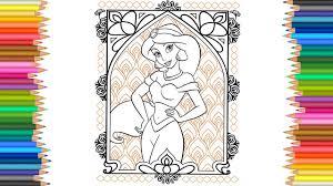 jasmine disney princess coloring page l coloring markers videos