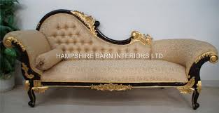 Sofa Chaise Lounge Sofa Chaise Longue Large Ornate Mahogany W Gold Cream Lounge