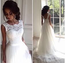 lace top wedding dress a line white wedding dress modsele online store