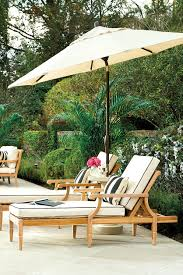 5 star stories auto tilt umbrella how to decorate two teak chaise lounge chairs with black and white cushions from ballard designs with 9