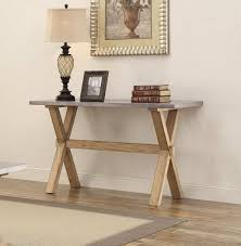 oak sofa tables homelegance luella sofa table weathered oak with zinc table top