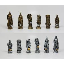 Unique Chess Pieces King Arthur Fantasy Chess Set With Glass Board 3 Inch High Chess