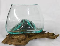 hand blown molten glass u0026 wood terrarium fish bowl vase u2013 acadia