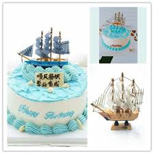 boat cake topper 1pcs sailboat model boat cake topper wooden ship moldels birthday
