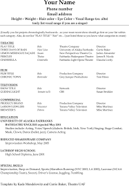Theatrical Resume Sample by Acting Resume Template 1 Free Resume Templates For Mac Download