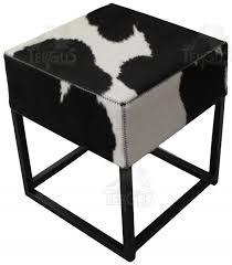 pouf en peau de vache tabouret pouf métallique tergus