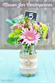 50th Anniversary Centerpieces To Make by Mason Jar Centerpieces With Burlap U0026 Lace 70 Birthday Parties