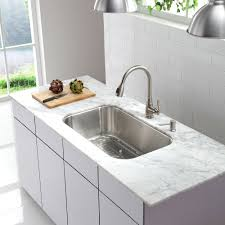 decor white kitchen cabinet and kraus sink with faucet also