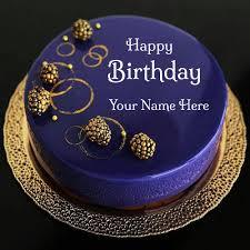 happy birthday royal blue designer cake
