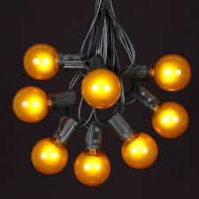 yellow g40 globe outdoor string light set on black wire