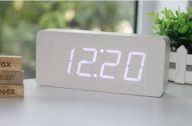 wood grain led alarm clock gadget flow