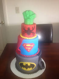 superhero cake batman superman spiderman ans the hulk