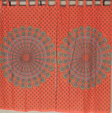 Peacock Curtains Orange Cotton Curtains Peacock Tail Fan Bohemian 2 Window