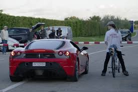 top speed f430 rocket powered bicycle leaves f430 scuderia in the dust