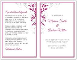 Wedding Program Templates Free Download Raspberry Grey Foliage Bi Fold Template Downloadble Stationery 35396