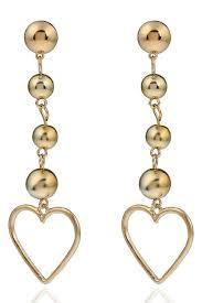 stylish earrings gold hollow metallic heart pendant beaded stylish drop earrings