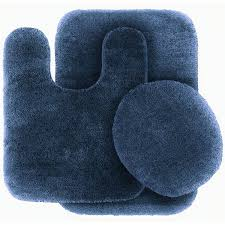 Navy Blue Bathroom Accessories by 3 Pc Navy Blue Bathroom Set Bath Mat Rug Contour And Toilet Lid
