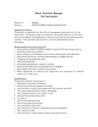 Sample Resume For Retail Assistant by Job Description Example Store Manager Create Professional