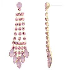 pink earrings aliza s light pink rhinestone fringe dangle earrings