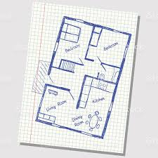 kitchen design graph paper a sketch of a house plan on a grid paper stock vector art