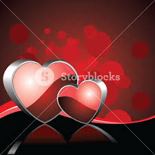 redcolor vector illustration of two heart shapes on red color background