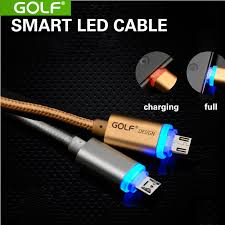 golf metal braided wire micro led usb cables v8 charging data