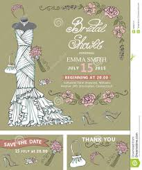 bridal shower invitation template bridal dress stock vector