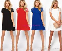 2016 quality red navy blue casual fashion womens lace dress summer