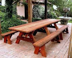 Folding Picnic Table With Benches Outdoor Wood Picnic Table Plans Outdoor Picnic Table With Umbrella
