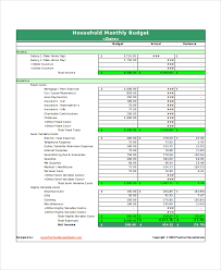 Monthly Spreadsheets Household Budgets by Excel Monthly Budget Template 18 Free Excel Document Downloads