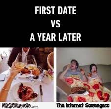 Meme Date - first date versus a year later funny meme pmslweb