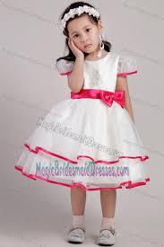tea length cap sleeves junior bridesmaid dress with pink hem