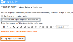 out of office auto response in outlook without exchange gmail and