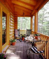 attractive screen porches on log homes using transparent glass