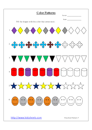 kidz worksheets preschool color patterns worksheet7