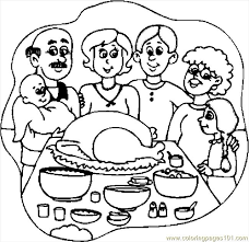 thanksgiving dinner 3 coloring page free thanksgiving day
