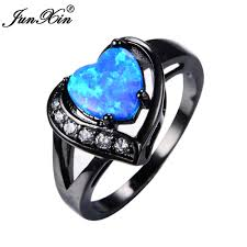 black gold rings images Junxin women blue fire opal heart ring with aaa zircon black gold jpg