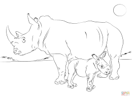 cute rhino baby with mother coloring page free printable
