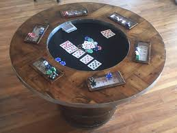 reclaimed wood game table wine barrel poker table delta 13